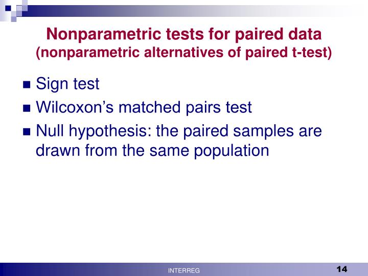 Nonparametric tests for paired data