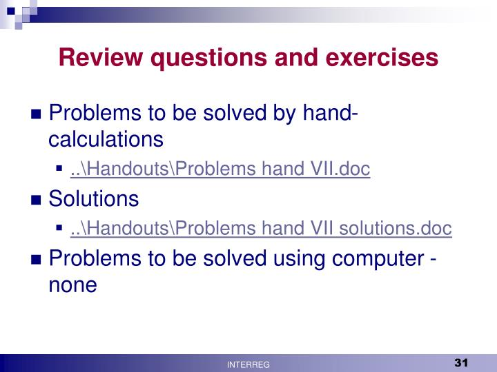 Review questions and exercises