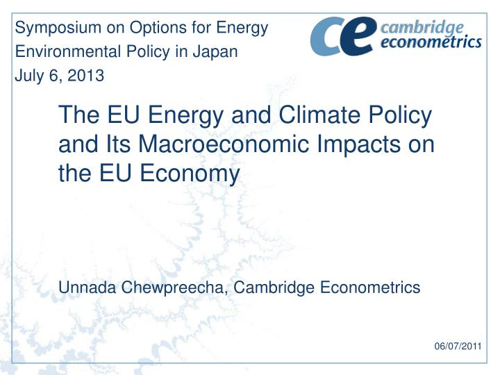 the eu energy and climate policy and its macroeconomic impacts on the eu economy n.