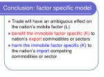 conclusion factor specific model