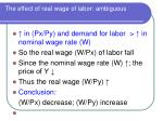 the effect of real wage of labor ambiguous
