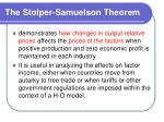the stolper samuelson theorem