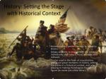 history setting the stage with historical context