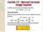 contoh 13 mencari turunan fungsi implisit