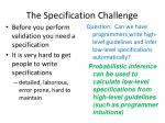 the specification challenge