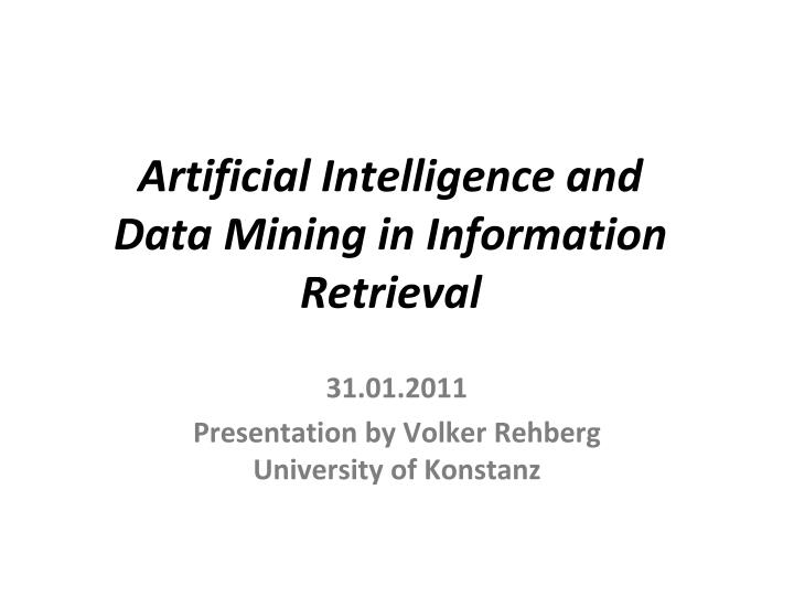 artificial intelligence and data mining in information retrieval n.