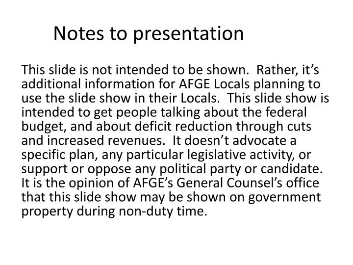 notes to presentation n.