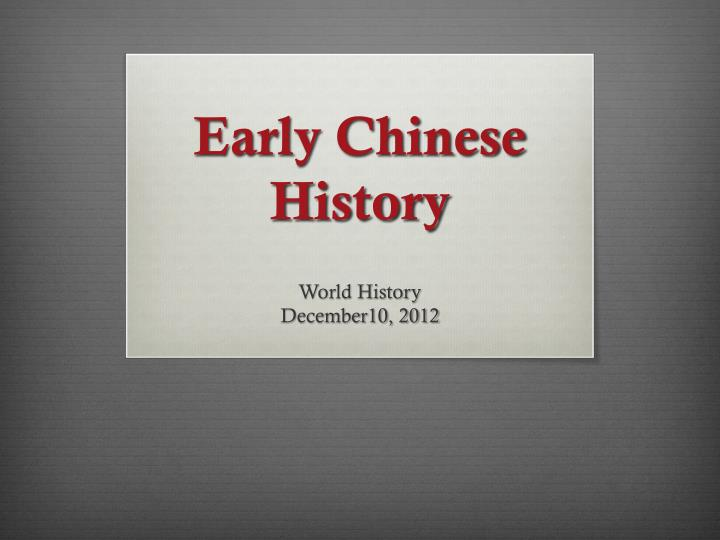 early chinese history n.