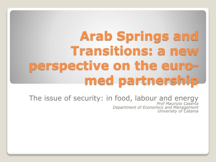 arab springs and transitions a new perspective on the euro med partnership n.