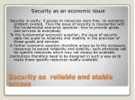 security as reliable and stable access