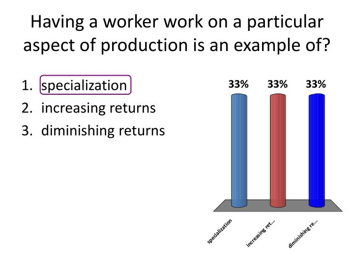 Having a worker work on a particular aspect of production is an example of?