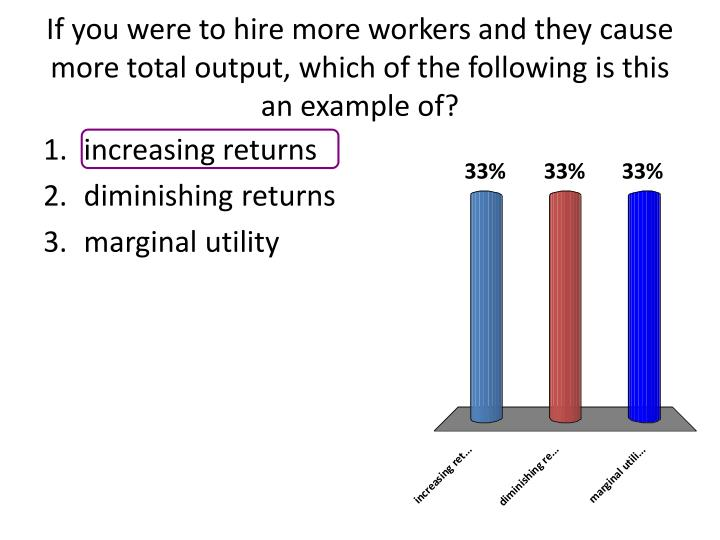 If you were to hire more workers and they cause more total output, which of