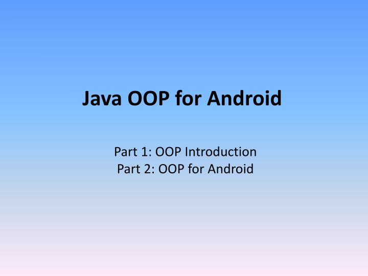 java oop for android n.
