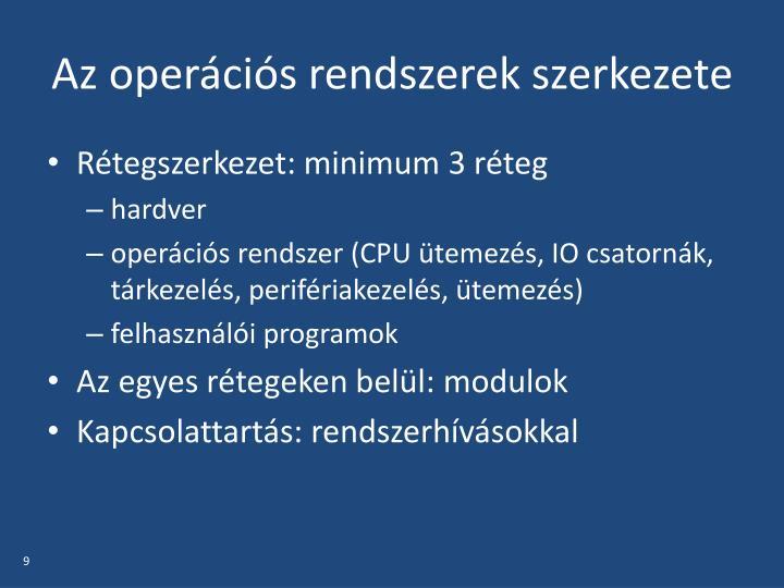 Az operációs rendszerek szerkezete
