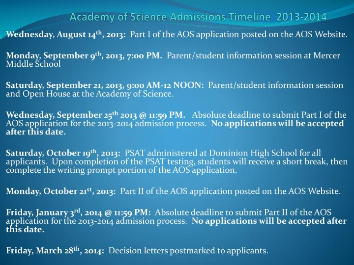 academy of science admissions timeline 2013 2014 n.