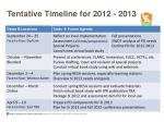 tentative timeline for 2012 2013