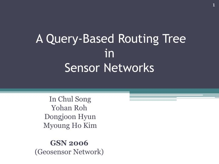 a query based routing tree in sensor networks n.