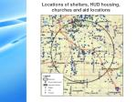 locations of shelters hud housing churches and aid locations
