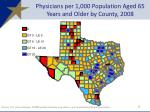 physicians per 1 000 population aged 65 years and older by county 2008