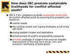 how does irc promote sustainable livelihoods for conflict affected youth