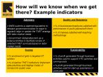 how will we know when we get there example indicators