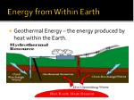 energy from within earth