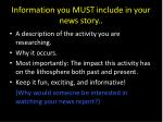 information you must include in your news story