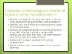 obstacles to partnering with families of middle and high school students