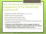 why should we increase pbis family engagement at the middle high school level
