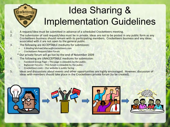 Idea Sharing & Implementation Guidelines