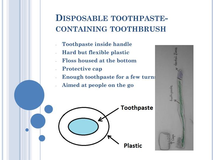 disposable toothpaste containing toothbrush n.