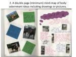 2 a d ouble page minimum mind map of body adornment ideas including drawings or pictures