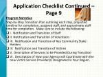 application checklist continued page 9