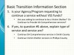 basic transition information section