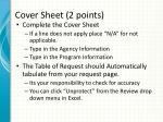 cover sheet 2 points