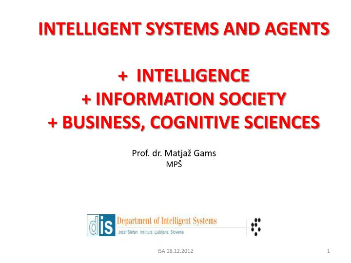 intelligent systems and agents intelligence information society business cognitive sciences n.