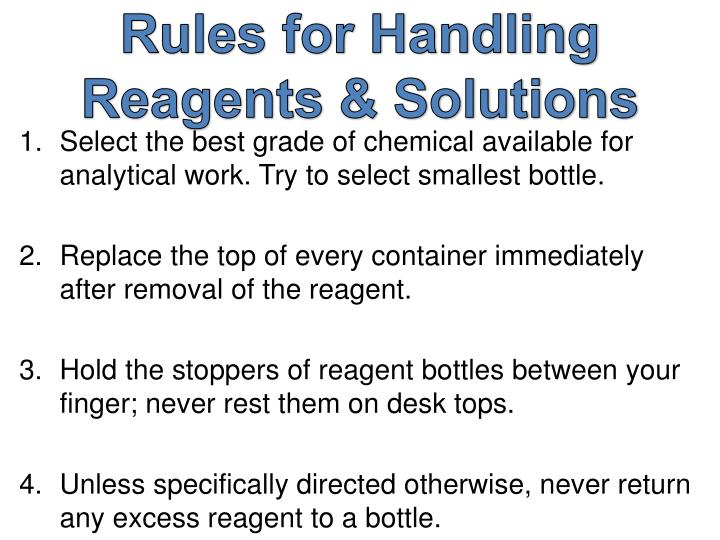 Rules for Handling Reagents & Solutions
