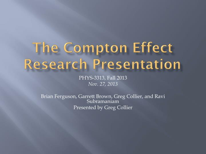 the compton effect research presentation n.