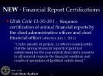 new financial report certifications