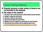 factor rating method