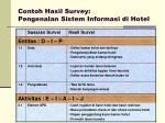 contoh hasil survey pengenalan sistem informasi di hotel