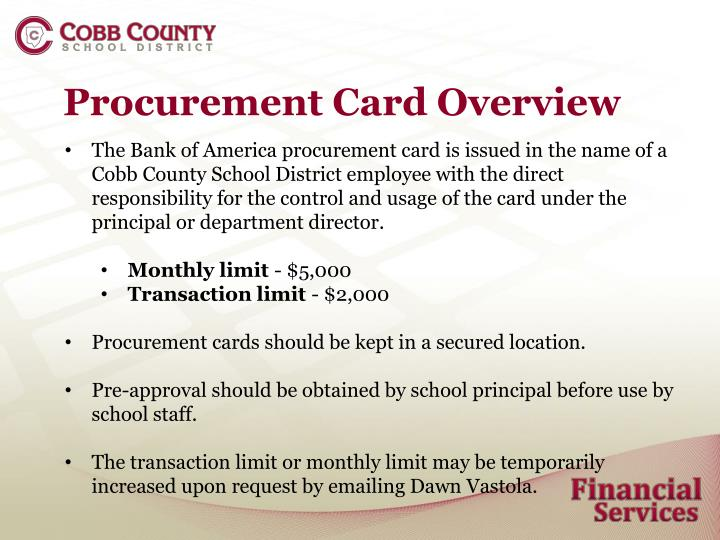 Procurement Card Overview