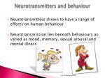 neurotransmitters and behaviour