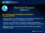 mentored program march 18