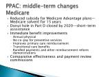 ppac middle term changes medicare