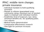 ppac middle term changes private insurance
