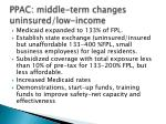 ppac middle term changes uninsured low income