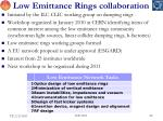 low emittance rings collaboration