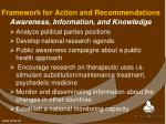 framework for action and recommendations