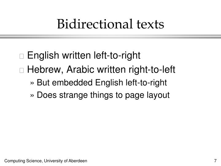 Bidirectional texts